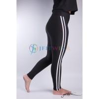 Celana Yoga GOTTEX Legging Black & WhiteStripes - Baju Senam Olahraga