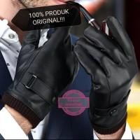 sarung tangan musim dingin pria semi kulit motor touchscreen hangat