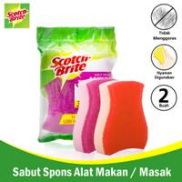 3M Scotch Brite Sabut/Spons 2 Pcs 3x4 Sponge Dishwasher 3M-ID-37P2