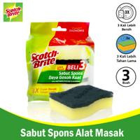 3M Scotch Brite Sabut / Spons 3Pcs 3x4 Sponge Dishwasher 3M-ID-30P3