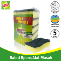 "3M Scotch Brite Sabut/Spons 4+1Pcs 3x4"" Sponge Dishwasher 3M-ID-30P5"