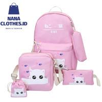 Tas Anak Lucu 4 in 1 Baby Cat (Sekolah / Main) (Laki Laki / Perempuan) - Merah Muda