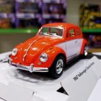 VW Beetle Door Colour (ORANGE) Diecast Kinsmart Miniatur Mobil Klasik