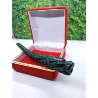 Pipa Rokok akar bahar hijau ukir naga 14 cm