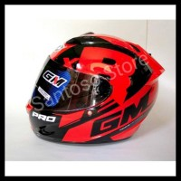 Helm Fullface Gm Race Pro Zr Merah Red Single Visor Dark Smoke