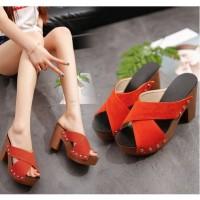 READY STOK JSH3033-orange Sandal High Heels Wanita Import 10cm