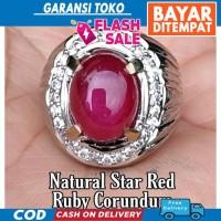 TERBARU CINCIN BATU AKIK PERMATA NATURAL STAR RED RUBY BLOOD PIGEON