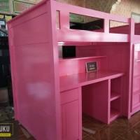 Tempat Tidur Tingkat Anak Perempuan,Dipan Tingkat dengan Meja Belajar