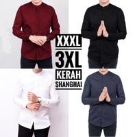 Kemeja Pria Kerah Shanghai Lengan Panjang Big Size Jumbo XXXL 3XL - Hitam, XXXL