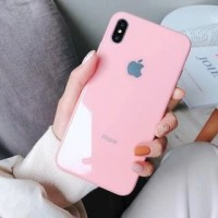 Casing Candy Color iPhone Tempered Glass Case Iphone 7/8 X/XS XR Xs - IPHONE 6, SOFT PINK