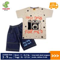 Skabe Pakaian Anak Laki Laki Camera Setelan Jeans Usia 3-9 Tahun 3254` - Cream, 4