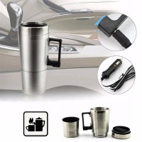 Portable Gelas Mobil Stainless Steel Car Mug Charger / Hangat & Panas