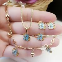 xuping set perhiasan anak lapis emas 24k 19a14