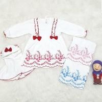 Baju Gamis Muslim Anak Bayi Perempuan Putih Bordir Set Kerudung