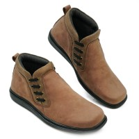 Sepatu Boots Pria Slip On High Top Double Stitches CH Leather RD01