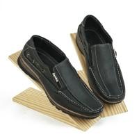 Sepatu Slip On Pria Casual Kulit Asli Double Stiches Y682