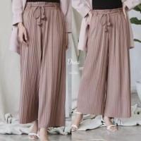 Celana Kulot Plisket Premium - Merah Muda
