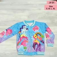 Jaket Little pony biru anak sweater new arrival hoodie anak Jv01