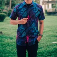 Kemeja Batik Pria Pendek Songket Gradasi Hitam Original