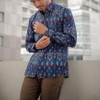 Kemeja Panjang Batik Songket Pria Slimfit Black Navy Purple