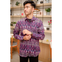 Kemeja Panjang Batik Songket Pria Slimfit Purple Navy Black