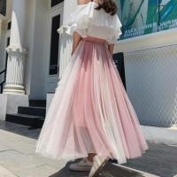 Rok plisket / mesh / lace / tutu dewasa ombre panjang / maxi skirt