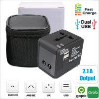 Universal Travel Adaptor 2.1A Fast charging Colokan adapter Dual USB