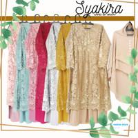 Gamis Set hijab Syakira, full brukat, furing jersey