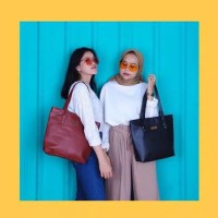 Totebag semi leather