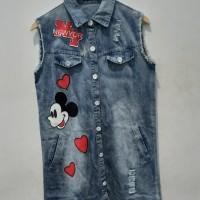 *Preloved* Dress Denim Jeans Kerah Mickey Big Size