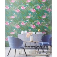 Wallpaper Dinding Motif Daun & Flamingo - Flower Story - Seri F0