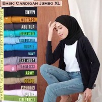Jumbo Basic Cardigan Atasan Wanita Lengan Panjang Outer Bigsize