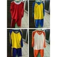 Kaos olahraga anak ukuran SD. SMP. SMA. warna merah. Kuning lis biru