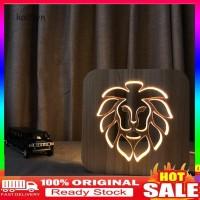 Lampu Tidur LED Bentuk Singa kai-hollow Bahan Kayu untuk Dekorasi