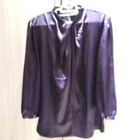 preloved atasan wanita blouse satin ungu turtleneck lengan panjang