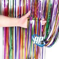 backdrop foil rainbow / tirai foil / foil fringe curtain tirai rumbai