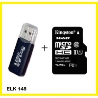 Memory Card Micro SD HC Kingston 16Gb Class 10 plus USB CARD READER