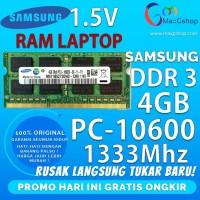 MEMORY RAM LAPTOP DDR3 4GB PC10600 1333Mhz SAMSUNG 1.5V ORI SODIMM !