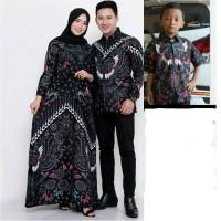 Baju batik couple set anak cowok ayah ibu batik keluarga