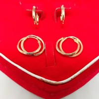 Anting anak ring polos perak 925/silver asli lapisan emas kuning 24k.