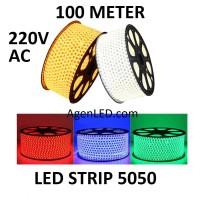 Lampu LED STRIP SELANG SMD 5050 100M 220v AC OUTDOOR KOTAK 100 M METER