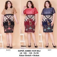 Dress Batik Kombinasi Brukat Premium / Dress Pesta Jumbo size