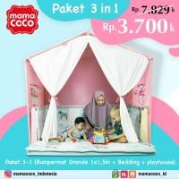 paket 3 in 1 (bumpermat grande+bedding+playhouse