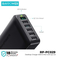 RAVPower Desktop Charger 6-Port with QC 3.0 - 60W - Black [RP-PC029]