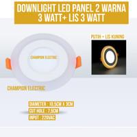 Lampu Downlight LED 2 Warna 3W Putih 3 Watt List Kuning