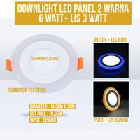 Lampu Downlight LED 2 Warna 6W Putih 3 Watt List Kuning