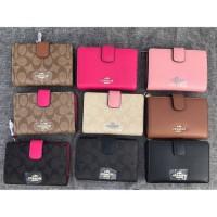 Coach Medium Crossgrain Leather Zip Wallet Dompet Ori Original