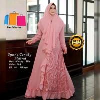 Gamis Syari Cantik Wanita Muslimah Baju Gamis Syari set khimar 2 layer