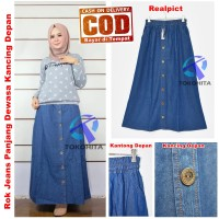 Rok Jeans Panjang Dewasa Kancing Depan Model A