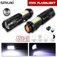 Sos Mini T6 COB LED Senter Torch Lamp USB Zoomable Penlight